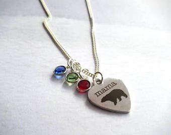 Mama Bear Birthstone Necklace, Mother gift from daughter, gift from son, Personalized necklace for mom gift mom, personalized gift for mom