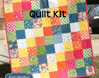 Blanket kit etsy last one quilt kit best day ever moda fabrics red blue yellow green rainbow bright ombre baby size crib blanket diy do it yourself solutioingenieria Images