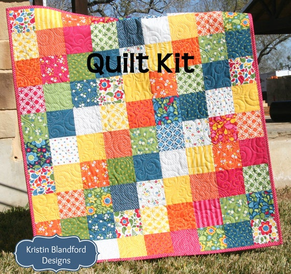 Last two quilt kit best day ever moda fabrics red blue last two quilt kit best day ever moda fabrics red blue yellow green rainbow bright ombre baby size crib blanket diy do it yourself solutioingenieria Image collections