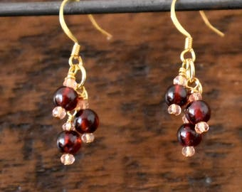 Garnet Gemstone Earrings | January Birthstone | Cluster Dangle Earrings