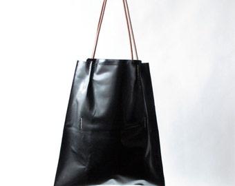 Handmade black leather tote for women modern handmade leather Bags and purses donna leather bag amy kreiling black shoulder bag