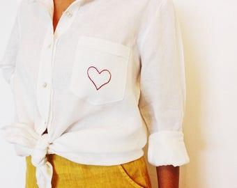 Boyfriend Shirt in White Linen