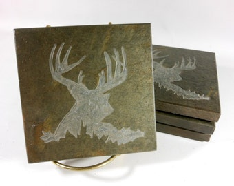 Deer Coasters - Rustic Stone Coasters - 4 Etched Slate Coasters Rustic Coasters Hunting Lodge Decor Coasters and More Designs