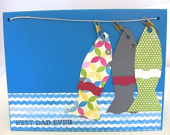 Fisherman Birthday Card for Dad,  Best Dad Ever Happy Birthday Card, Handmade Best Dad Ever Birthday Card, Outdoor Card for Fishing Father