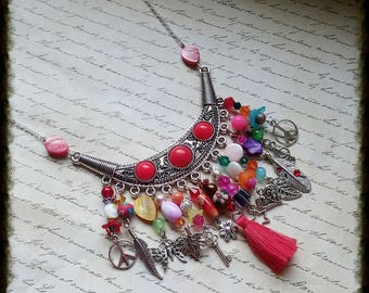 Silver necklace, with beads, tassel, acrylic flowers and charms