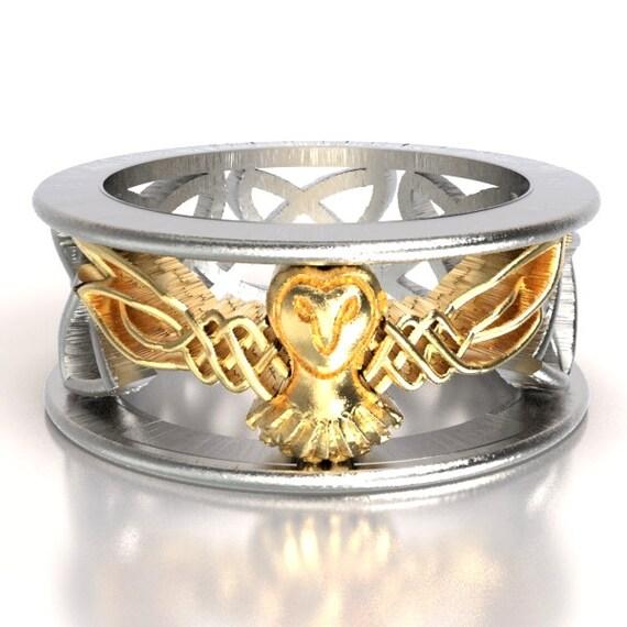 Celtic Two Tone Owl Wedding Band, Celtic Gold Ring, Unique Silver Wedding Ring, Barn Owl, 10K 14K 18K Gold Palladium Platinum 1016