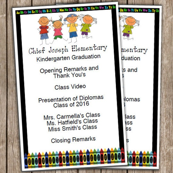 Kindergarten Graduation Half Sheet Blank Editable Program