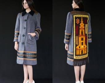Women's winter coat - unique designer piece, wool coat, recycled vintage materials, handstitched coat, slow fashion garment, Bartinki