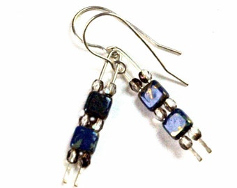 Modern Artsy Earrings, Picasso Finish Czech Glass Tile Beads, Blue and Tan Tones, Hammered Metal, Delicate Statement Earrings, Silver