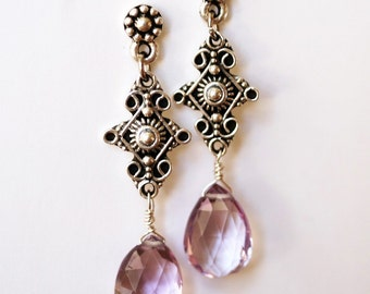 Pink Amethyst and Sterling Earrings