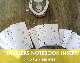 Set 3 TN inserts, Travelers Notebook, Midori Inserts, Daily, Regular, A6, Passport, Personal, B6, A5, Cahier, TN inserts, Printed