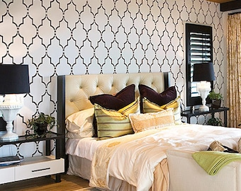 Marrakech Trellis Wall Stencil - Long - Reusable stencils for DIY decor