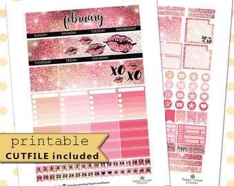 2017 FEBRUARY Monthly View/Printable Planner Stickers for use with Erin Condren Life Planner/Monthly Sticker Kit/Valentines Day/Horizontal
