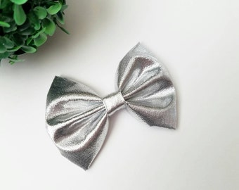 Silver Hair Bow | Attached to alligator clip or headband | silver Hairbow | Baby or Toddler Bow | Kate's Bows
