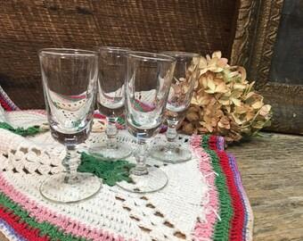 Vintage Cordial Glasses/Shot Glasses/Clear/Set of Four