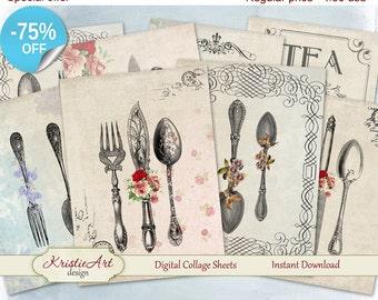 75% OFF SALE Digital Collage Sheet, Cutlery Printable Download, Digital cards C065, Altered Art, Atc Aceo Jpeg printable digital PDF cooking