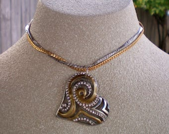 Gold & Silver heart necklace, Heart necklace, Romantic jewelry, Love jewelry, Swirled heart, Up-cycled jewelry, Re-purposed jewelry,Recycled
