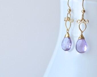 Arabella - Lavender Amethyst Gold Filled Earrings | Delicate Gold Dangles | Small Amethyst Earrings