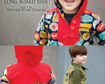 The Long Board Shirt, unisex woven shirt pdf pattern for boys and girls size 1-14.