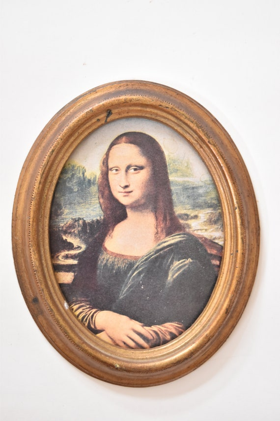 framed mid century mona lisa oval wall hanging print