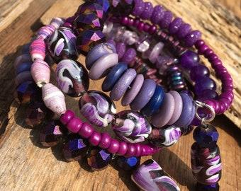 boho beaded purple wrap bracelet, purple stacking bracelet, layering bracelet, spring bracelet, Mother's Day gift, gift for  her, gift mom