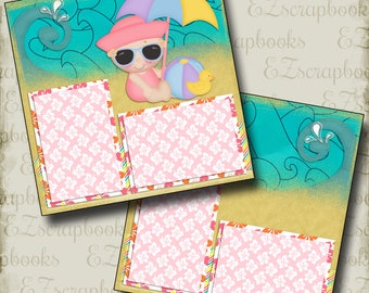 BEACH BABY Girl - 2 Premade Scrapbook Pages - EZ Layout 778
