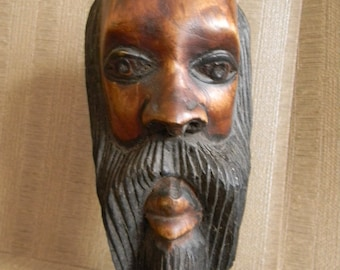 Vintage  Wood Carving Hand Carved Sculpture Bust . Signed