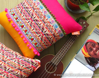 Aztec Pillow Pink Geometric Star Folk Cushion Cover - Colourful Decorative Pillow