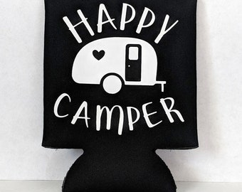 Happy Camper Can Coozie - Camping Accessories - Camping Gift
