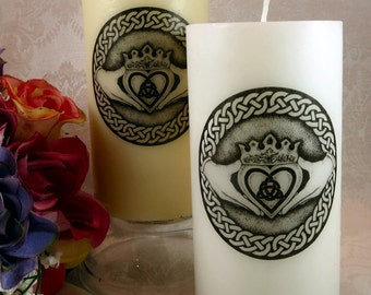 Claddagh Unity Candle / Celtic Pillar Candle / Medieval Renaissance Fantasy Irish Wedding Candle / Pagan Wicca Handfasting Candle