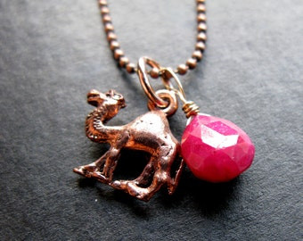 Jewels of the Nile Copper camel and grade A Ruby briolette on ball chain