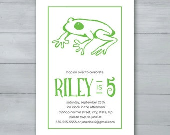 Frog Birthday Party Invitation  |  Frog Invite  |  Hop on Over Invitation