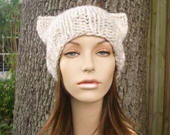 Knit Hat Womens Hat - Cat Beanie Hat in Wheat Knit Hat - Wheat Cat Hat Wheat Hat Wheat Beanie Womens Accessories Winter Hat
