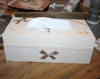 box with handkerchiefs, shabby taupe and ivory lace heart