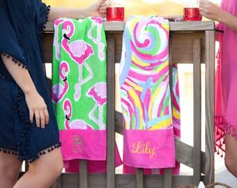 Monogrammed Beach Towel, Personalized Beach Towel, Adult Monogram Beach  Towel, Monogrammed Towel,