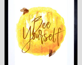 "Be Yourself Motivational Print - Bees Framed 12X16"" Art Quote F12X10766"