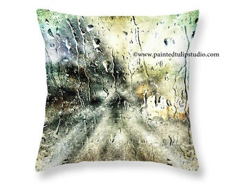 Square Pillow Fine Art Rainy Nights Surreal Dark Moody Nightime Home Decor Small and Large Sizes Available