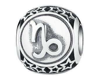 Capricorn Zodiac Constellations European Spacer Beads Charm - 925 Sterling Silver - Jewelry Making