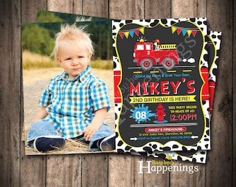 Firetruck Birthday Firetruck Birthday Invitation Fire Engine Birthday Firefighter Birthday Invitation Digital File by Busy bee's Happenings