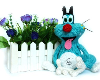 Crochet toys Oggy and the Cockroaches Oggy toy Amigurumi toy Oggy cat Oggy cartoon Handmade Oggy doll Toy cat Plush Oggy Funny cat Blue Cat
