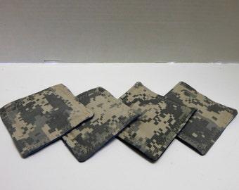 Set of 4 Fabric Drink Coasters Camoflauge