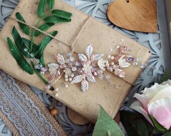 SILVER ROSE | Bridal headpiece, hair vine, wedding hairpiece, pink headpiece