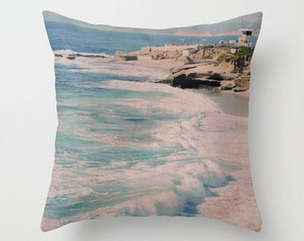 Beach Throw Pillow, Ocean Photo, Seascape Accent Pillow, Wave Art Cushion, Coast,Lifeguard,Sand, Seaside, Sea Green, Blue Ocean, White Waves
