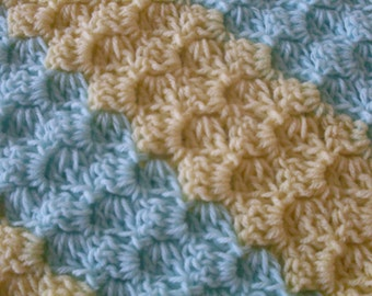 Yellow and Green Baby Blanket Afghan or Lap Blanket Throw  Hand Crocheted Heirloom quality  Ready to Ship