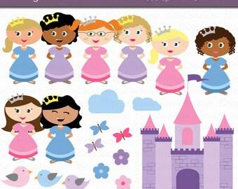 Princesses Clipart Digital Art Set Commercial Use Clip Art INSTANT Download Princess Clipart