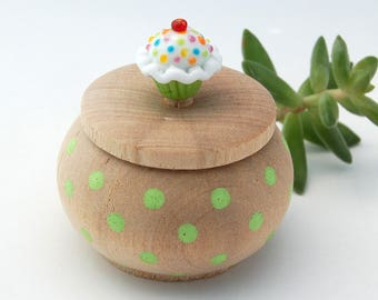 Tiny Wood Trinket Box with  Lampwork Glass Lime Green Sprinkle Cupcake Knob/Finial