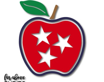 Tennessee Tristar Apple SVG TN Teacher Apple SVG, eps, dxf, png, jpg digital cut file for Silhouette for Cricut Teacher Appreciation