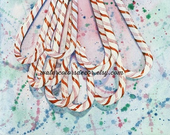 Peppermint Candy Canes Watercolor Print. Peppermint painting. Watercolor candy. Christmas decor. Candy wall art. Candy artwork. Candycanes.