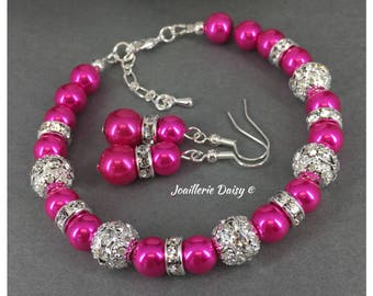 Bridesmaid Jewelry Set Hot Pink Bracelet Fuchsia Bracelet Bridesmaid Gift Maid of Honor Gift Wedding Fuchsia Jewelry Idea Gift for Her