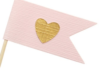 Pink and Gold Flag Heart Cupcake Toppers / Appetizer Picks / Food Picks /